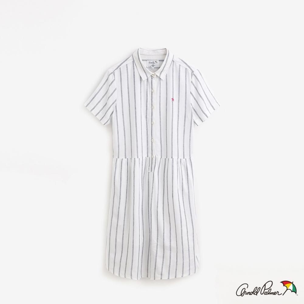 Arnold Palmer-女裝-直條紋襯衫洋裝-米