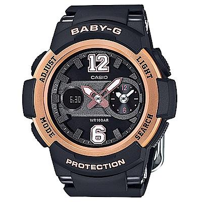 BABY-G立體感街頭運動球衣概念休閒錶(BGA-210-1B)-黑X玫瑰金框/46mm