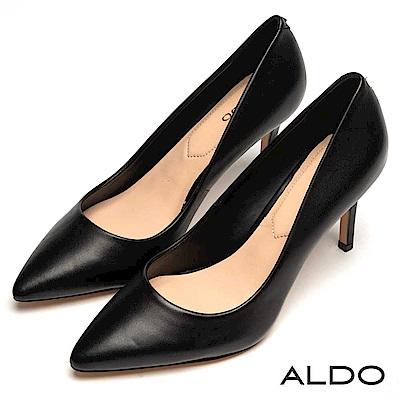 ALDO 原色真皮綴金屬LOGO尖頭細高跟鞋~真皮黑色