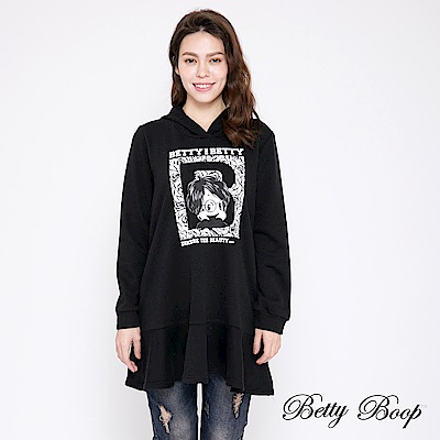 Betty Boop貝蒂 膠印荷葉襬連帽刷毛上衣(共兩色)