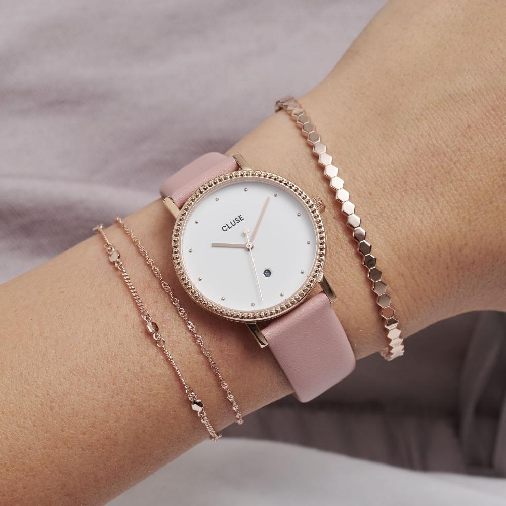 CLUSE Le Couronnement加冕系列(玫瑰金框/白錶面/粉色皮錶帶)33mm