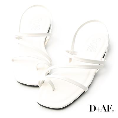 D+AF 夏日序曲.多條細帶軟墊平底涼鞋*白