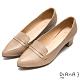 DIANA光澤金屬釦細緻羊皮尖頭粗跟高跟鞋-摩登時尚-卡其 product thumbnail 1