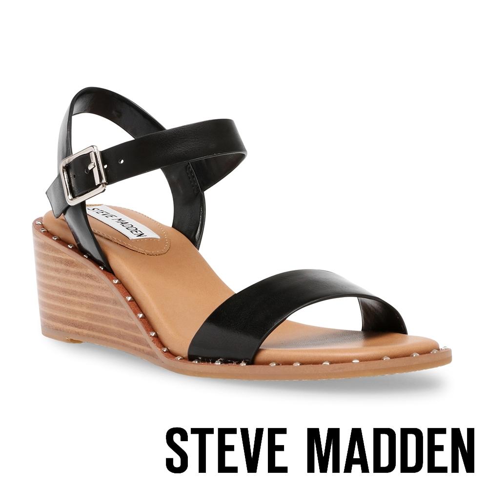 STEVE MADDEN-DAIRE 交叉楔型涼拖鞋-黑色