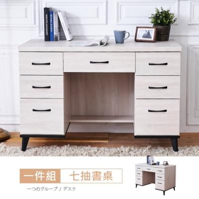 時尚屋  凱爾西鋼刷白4尺書桌  寬120x深59x高80.9cm