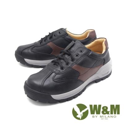 W&M (男)撞色綁帶厚底鞋休閒鞋 男鞋 -黑(另有白)