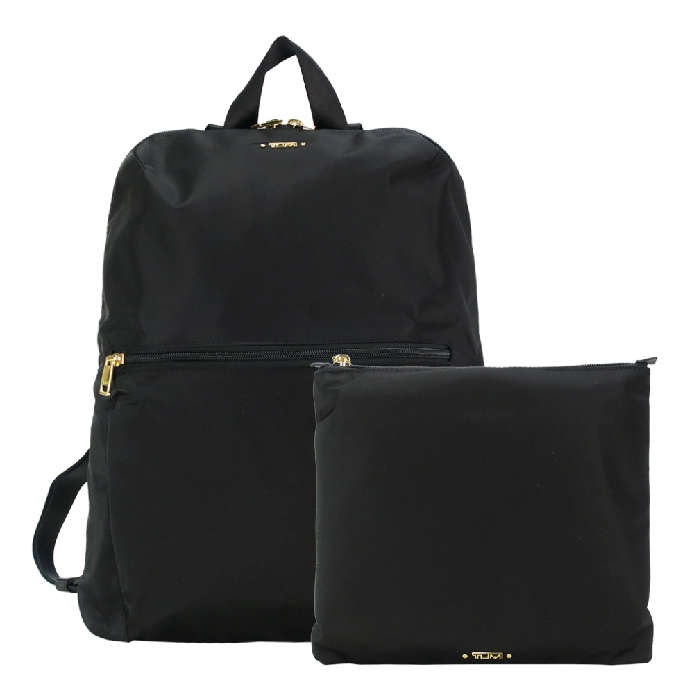 TUMI  VOYAGEUR 尼龍簡約前口袋折疊後背包-黑