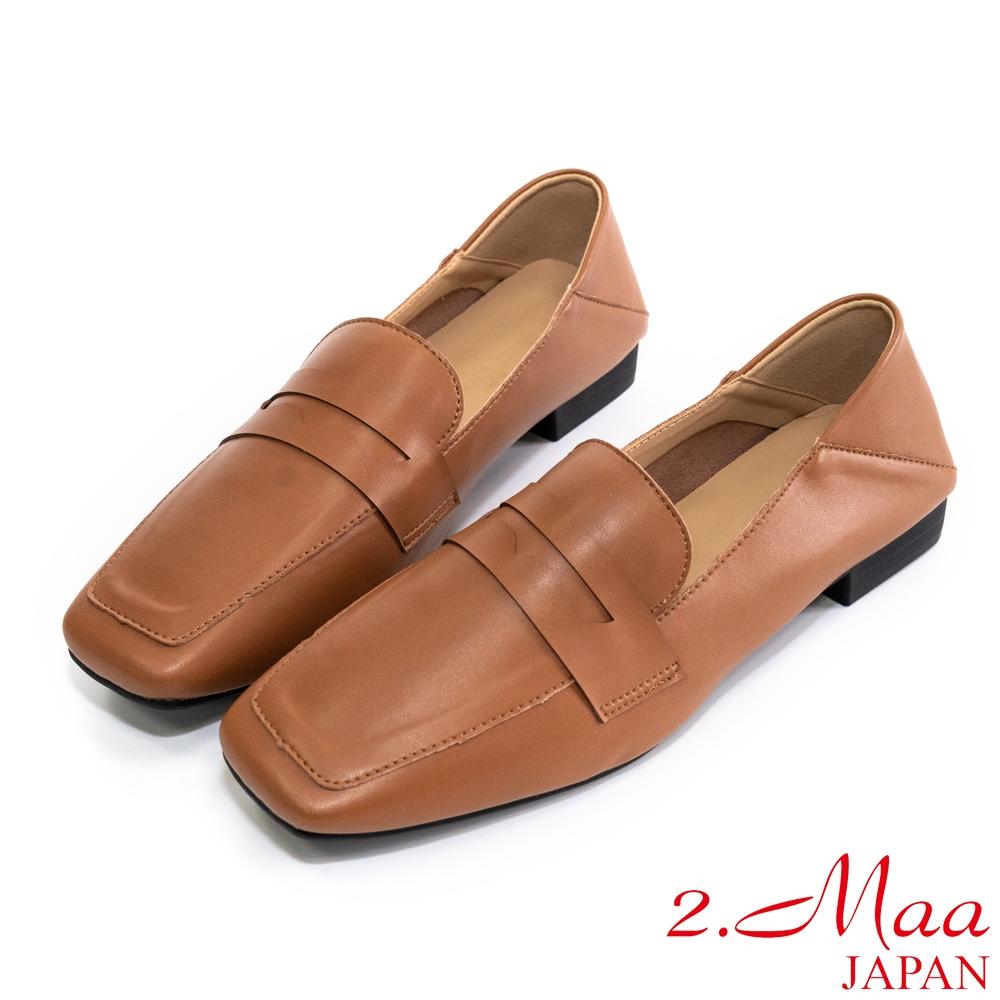 2.Maa 復古設計‧牛紋皮扣帶低跟樂福鞋 - 棕咖