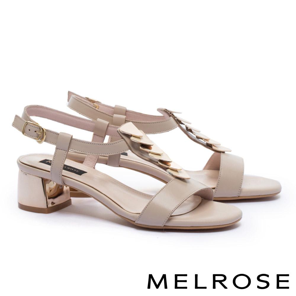 涼鞋 MELROSE 時尚百搭雙色幾何飾片中小牛皮粗高跟涼鞋-米