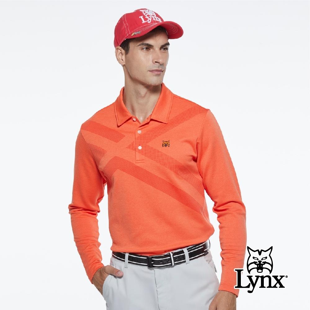 【Lynx Golf】男款交叉線條點點印花山貓繡花長袖POLO衫-橘色