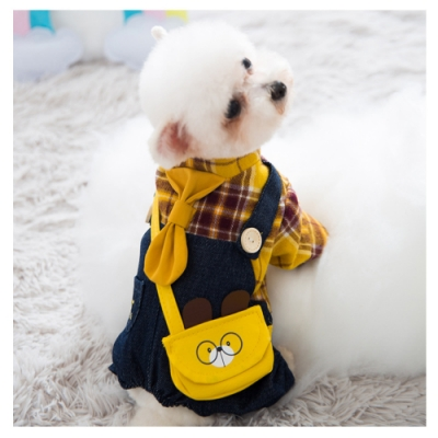 寵愛有家-寵物秋冬牛仔格子吊帶款服飾(寵物衣服)
