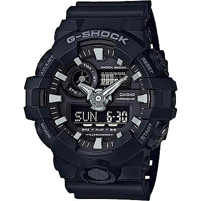 G-SHOCK創新突破金屬感搶眼視覺休閒錶(GA- 700 - 1 B)-黑面/ 53 . 4 mm