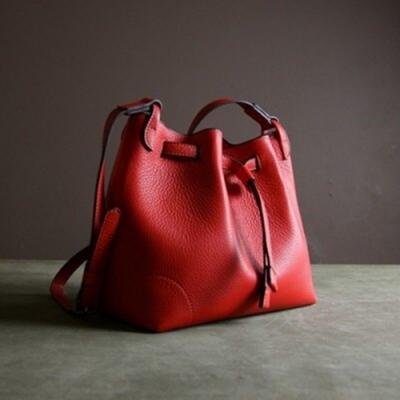 米蘭精品 手提包真皮肩背包-荔枝紋牛皮時尚水桶包女包情人節生日禮物2色73uy14