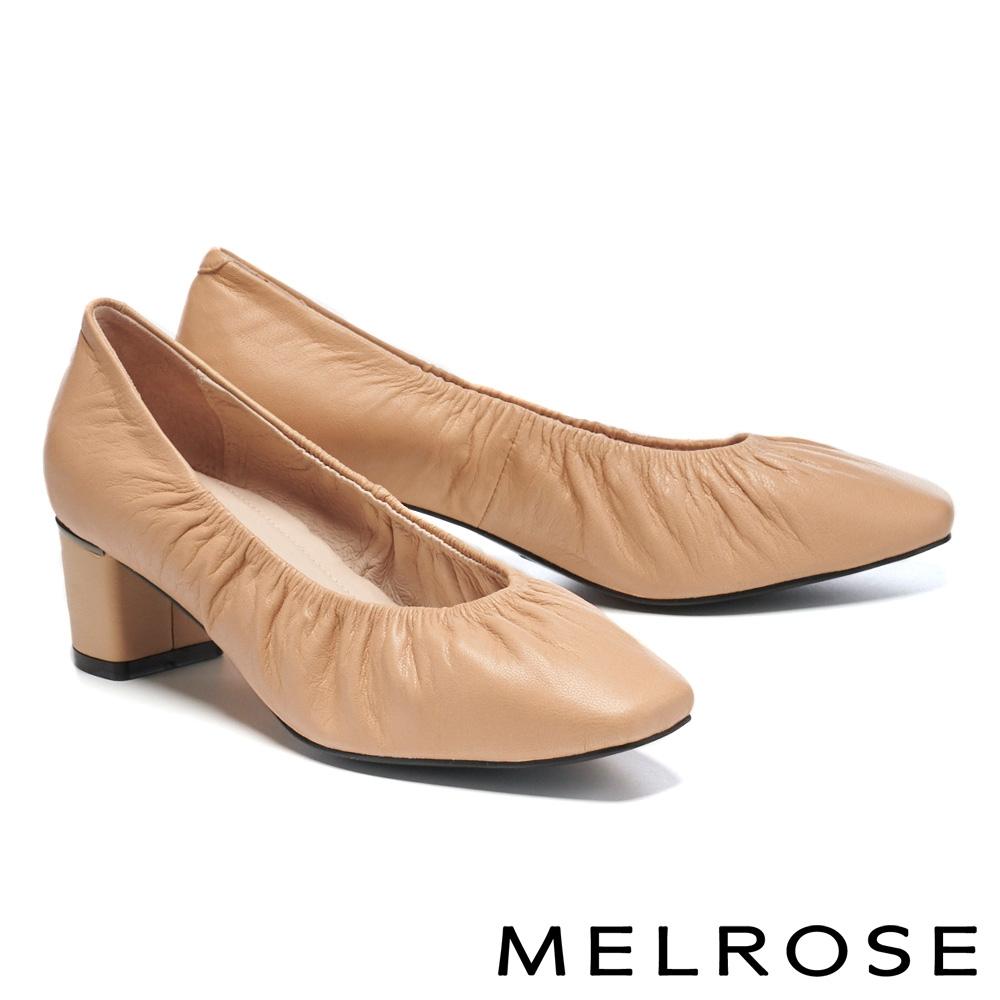 高跟鞋 MELROSE 極簡氣質純色抓皺全真皮方頭高跟鞋-米