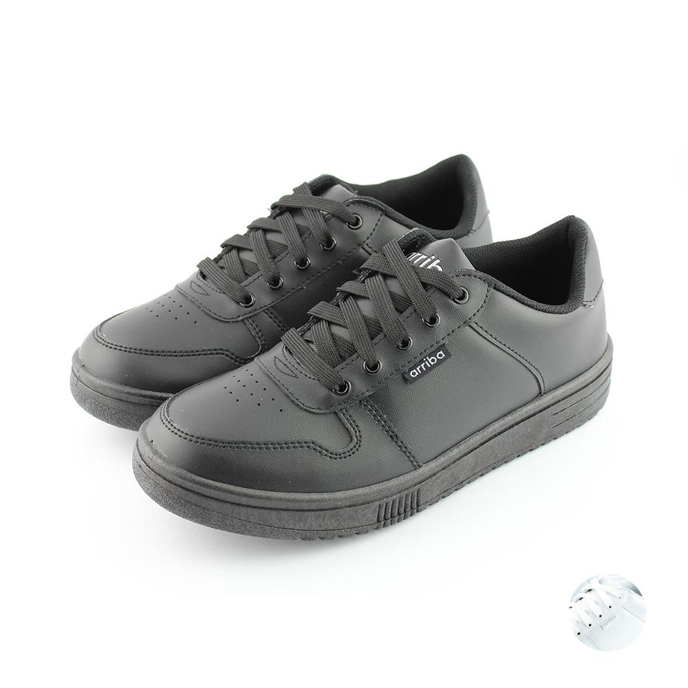ARRIBA艾樂跑男鞋-素色皮質休閒鞋-黑/白(FA409)