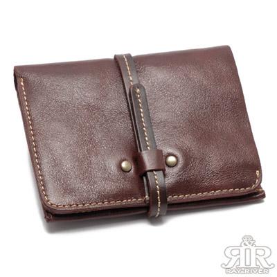 2R 頭層植鞣牛皮 Craftsman 細帶手感短夾 酒漾紫紅