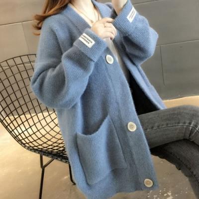 La Belleza袖貼標籤V領雙口袋方型鈕釦開釦包心紗針織外套