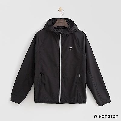 Hang Ten - 女裝-ThermoContro-拉鍊設計機能連帽外套-黑
