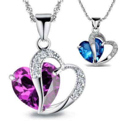 【I.Dear Jewelry】夢幻愛情-正白K-紫水晶藍水晶愛心鑲鑽項鍊(2色)