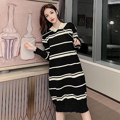 DABI 韓國風條紋連帽毛衣寬鬆時尚長袖洋裝