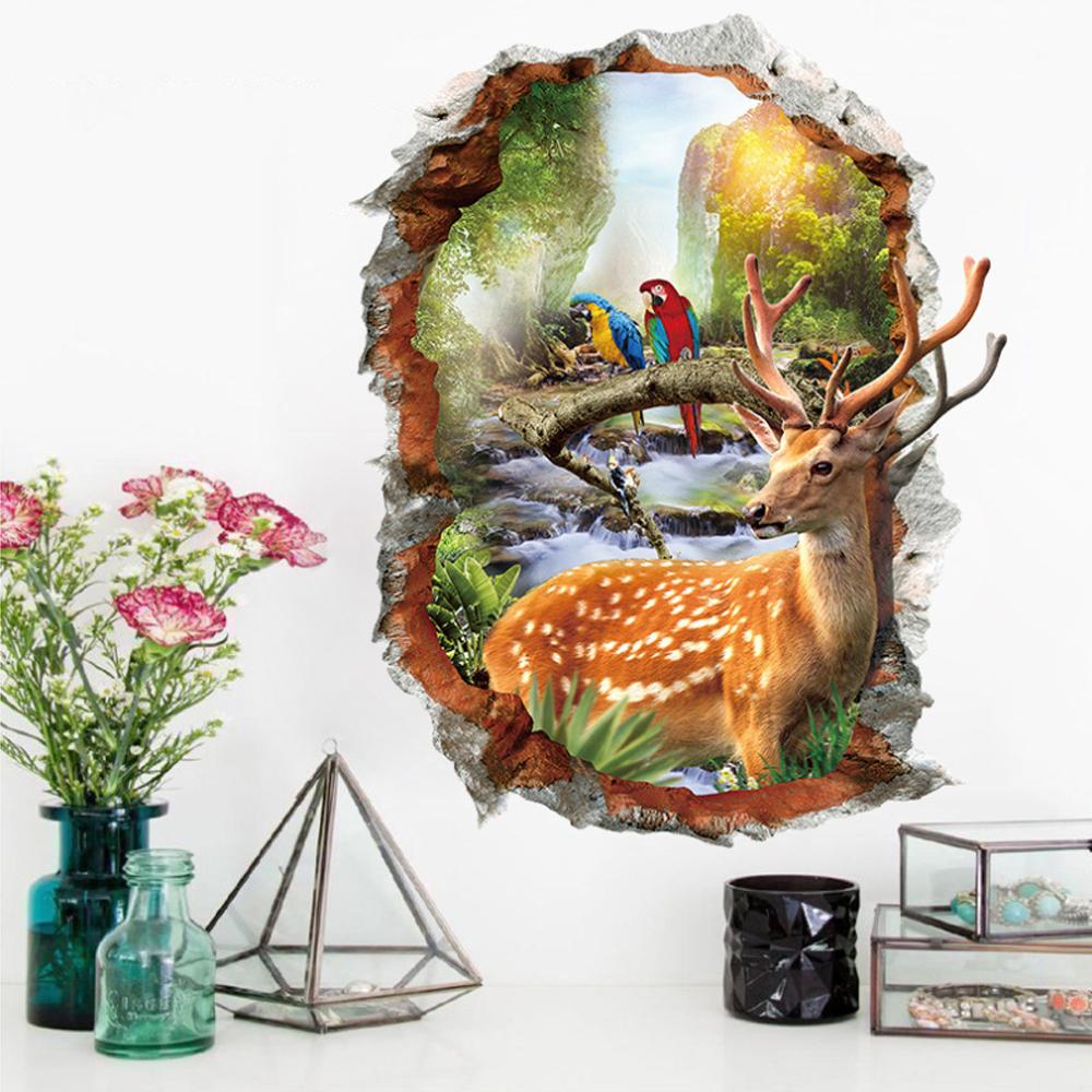 半島良品 DIY無痕壁貼-3D梅花鹿 XH7253 50x70cm