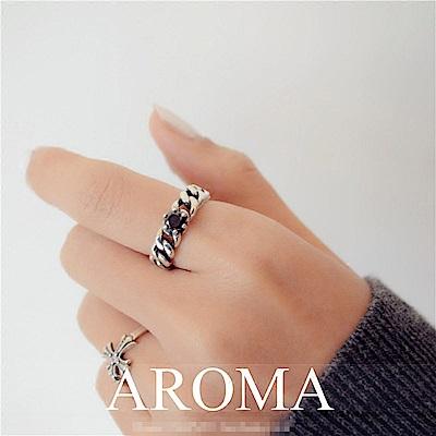 梨花HaNA 韓國泰銀復古黑寶石圓飾戒指開口