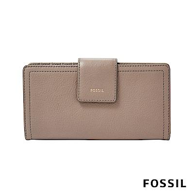 FOSSIL LOGAN 真皮系列拉鍊零錢袋設計中夾-奶油駝色