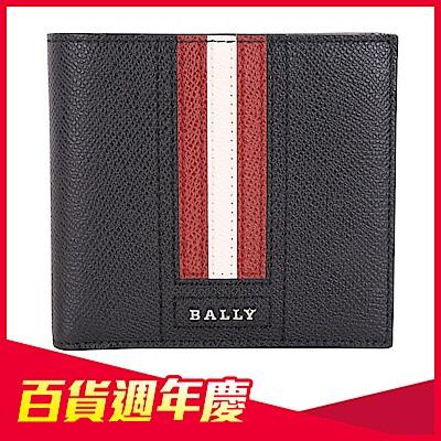 [時時樂限定]BALLY TRASAI 經典紅白條紋黑色八卡對折短夾