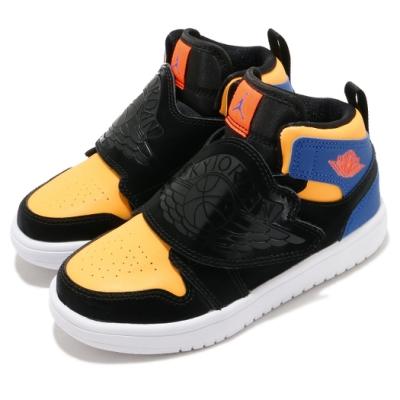 Nike 休閒鞋 Sky Jordan 1 運動 童鞋 經典 喬丹 魔鬼氈 舒適 小童 穿搭 黑 黃 藍 BQ7197040