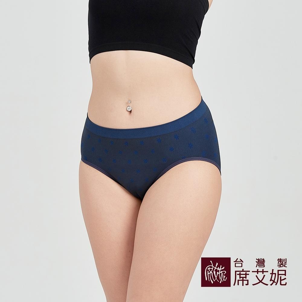 席艾妮SHIANEY 台灣製造 超彈力舒適內褲 抗菌竹炭纖維少女小花款-藍色