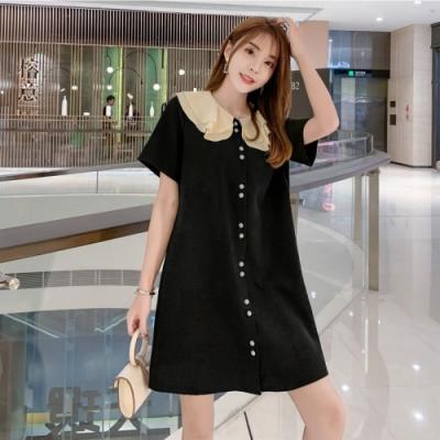 中大尺碼雙層大片荷葉領包釦排釦黑色寬鬆洋裝L~4L-Ballet Dolly