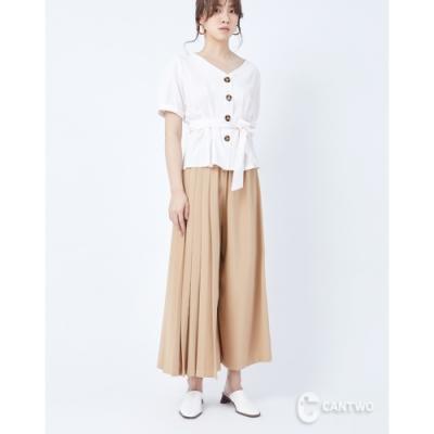 CANTWO變形壓摺寬口褲裙-二色-卡