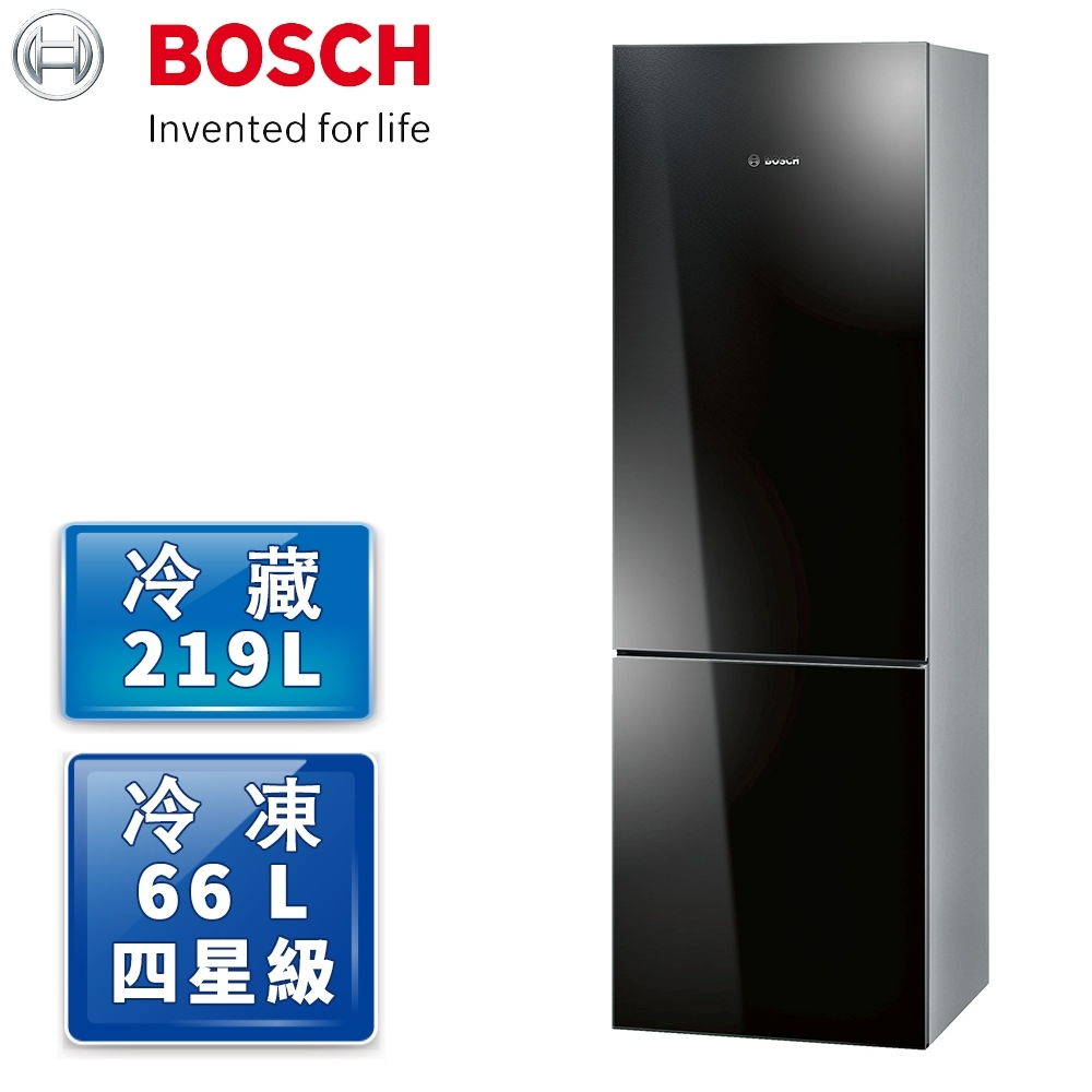 BOSCH 博世 8系列 獨立式上冷藏下冷凍玻璃門冰箱 深邃黑 KGN36SB30D