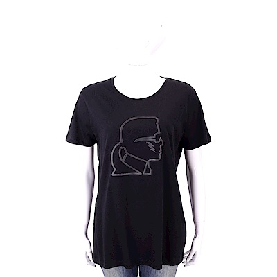 Karl Lagerfeld Lightning 黑色老佛爺粉紅側臉肖像短袖T恤