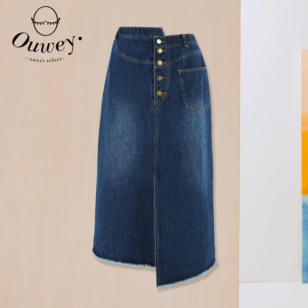 OUWEY歐薇 不對稱高腰純棉牛仔裙(藍)3212168233