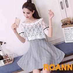 透膚蕾絲網紗上衣+格紋吊帶裙兩件套 (格紋色)-ROANN