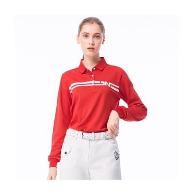 【Jack Nicklaus】金熊Golf女款條紋印花吸濕排汗POLO衫-紅色