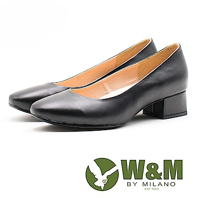 【W&M】小牛皮舒適上班族尖頭低跟女鞋-黑