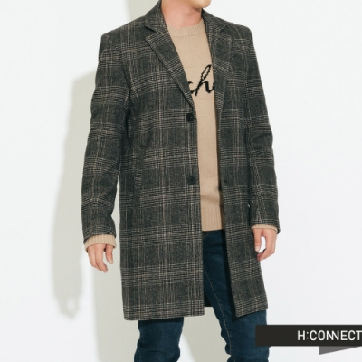【周慶限量款】H:CONNECT 韓國品牌 男裝-長板格紋羊毛大衣-棕