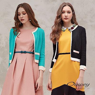 OUWEY歐薇 質感緹花配色針織小外套(黑/綠)