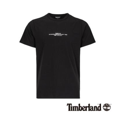 Timberland 男款黑色圓領品牌刺繡短袖T恤|A1VY5