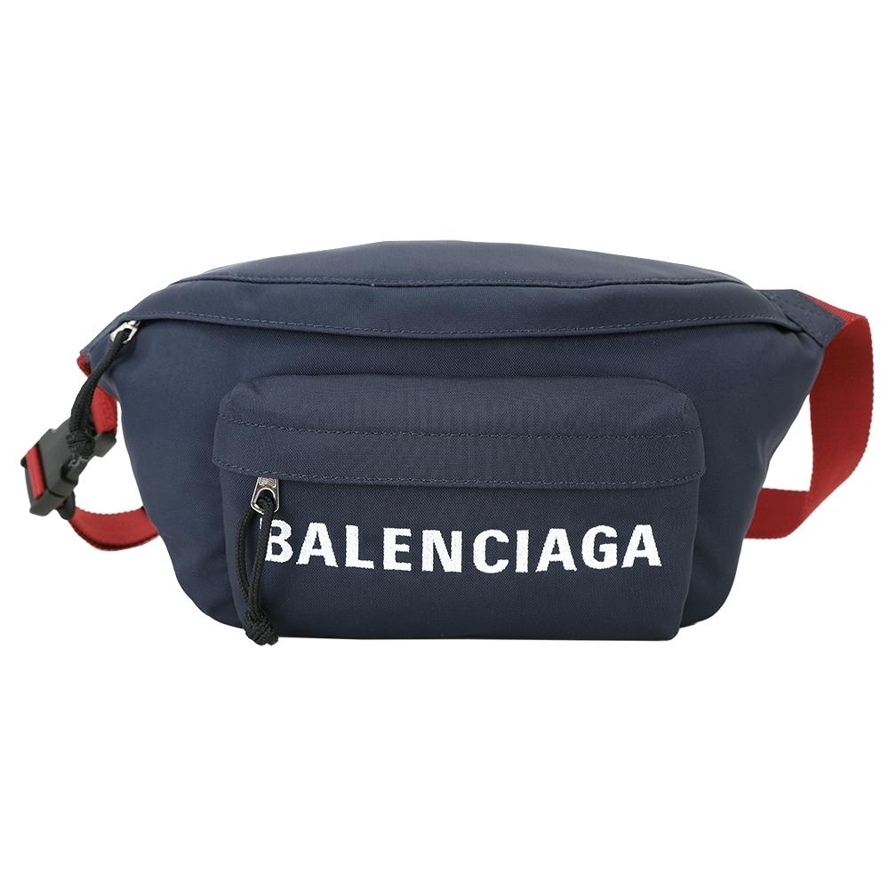 BALENCIAGA WHEEL 刺繡字母尼龍撞色胸肩背/腰包(深藍)