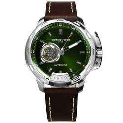 GIORGIO FEDON 1919 自動手動上鍊真皮機械錶-綠x咖啡/46mm