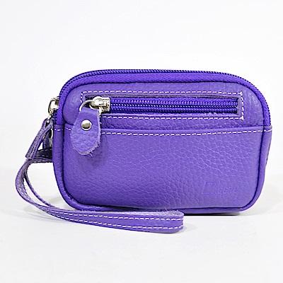 Miyo進口牛皮雙拉零錢手拿包(紫羅藍色)