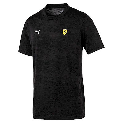 PUMA-男性法拉利車迷系列Tech印花短袖T恤-黑色-歐規