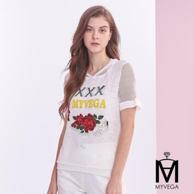 麥雪爾 MA格連帽拼接玫瑰印花造型T恤-白
