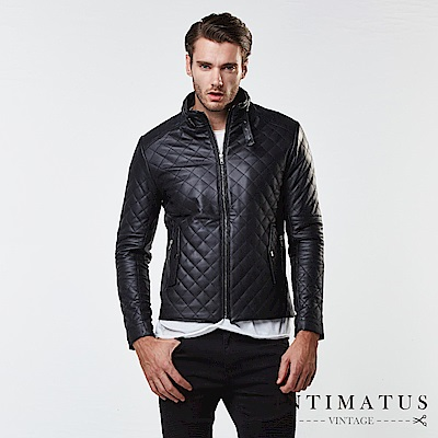INTIMATUS 真皮 菱格質感防風鈕扣式設計鋪棉頂級小羊皮皮衣 經典黑