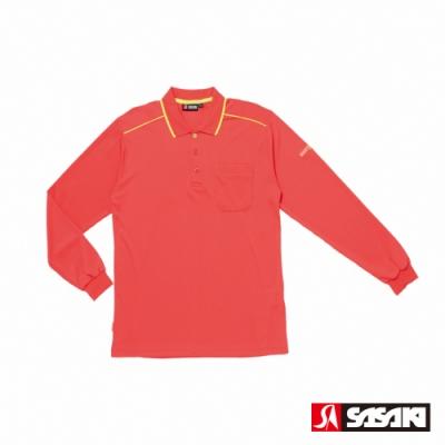 SASAKI 長效性吸排功能POLO休閒長衫-男-珊瑚紅/艷黃