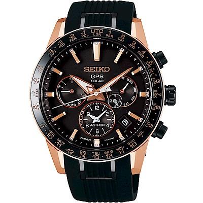SEIKO精工 Astron 5X53鈦金屬雙時區GPS衛星定位錶(SSH006J1)-黑