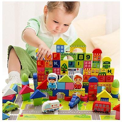 經典木玩 100顆城市交通積木組(兒童積木)(36m+)